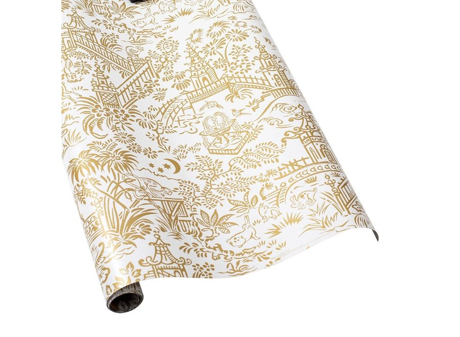 "Pagoda Toile Reversible Gift Wrapping Paper in Gold & Silver - 30"" x 5' Roll"