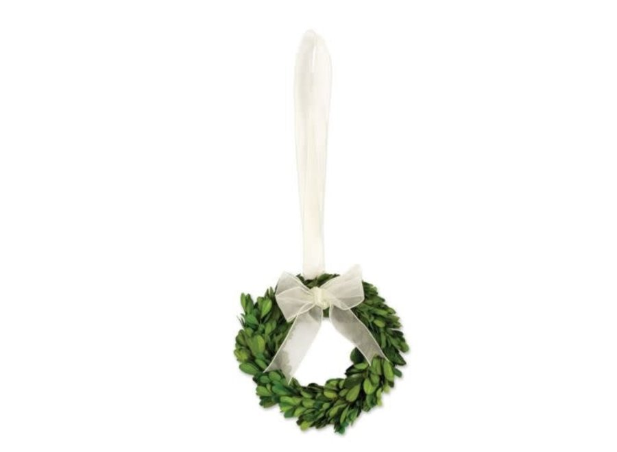 Boxwood Wreath Small with White Ribbon