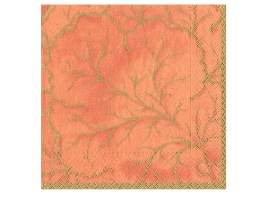 Gilded Majolica Paper Luncheon Napkins in Orange - 20 Per Package