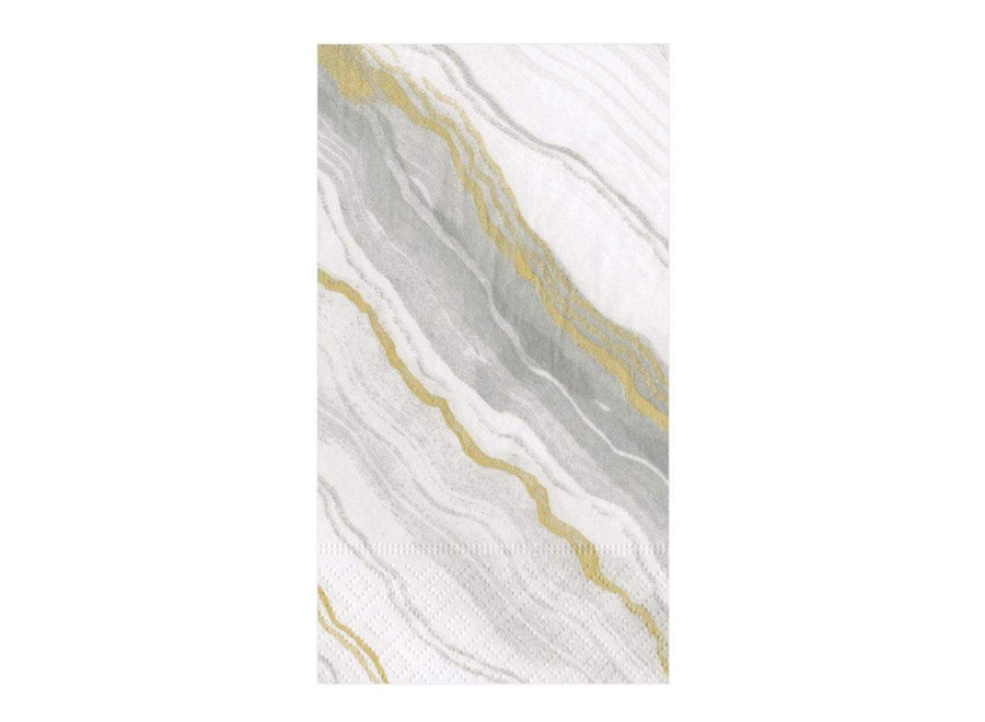 Marble Paper Guest Towel Napkins in Grey - 15 Per Package