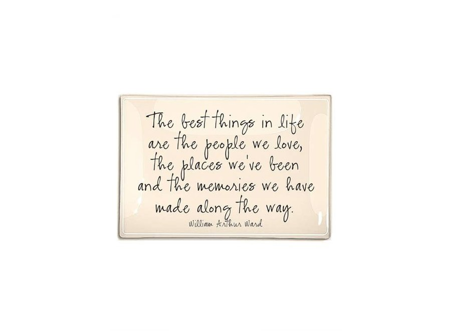 """The Best Things In Life Are Decoupage Glass Tray  4""""x9"""""""