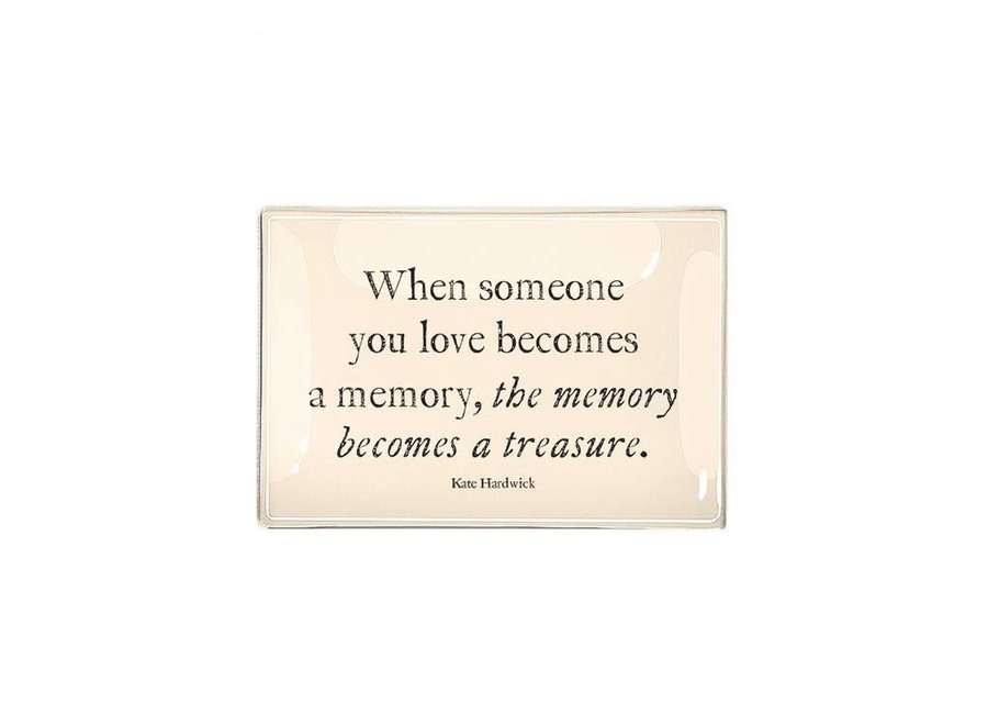 """When Someone You Love Becomes A Memory Decoupage Glass Tray  4""""x9"""""""