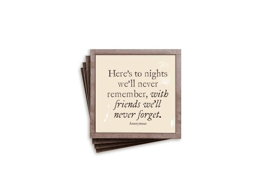 Here's To Nights Copper & Glass Coasters