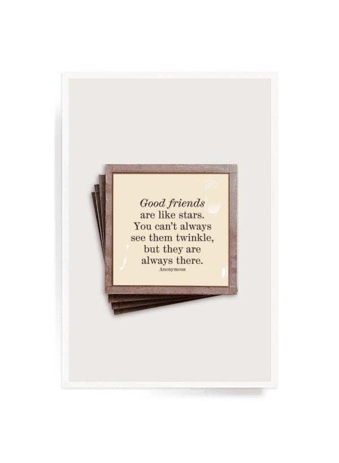 Good Friends Are Like Stars Copper & Glass Coasters