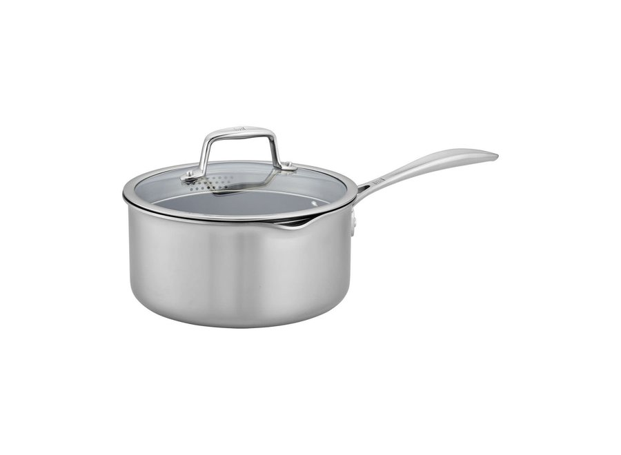 Clad CFX Saucepan 3-QT Stainless Steel Ceramic Nonstick Fry Pan with Lid Set
