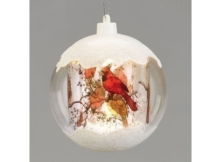 """5""""LED Cardinal & Branches Ornament Layered Ball Batteries Included"""