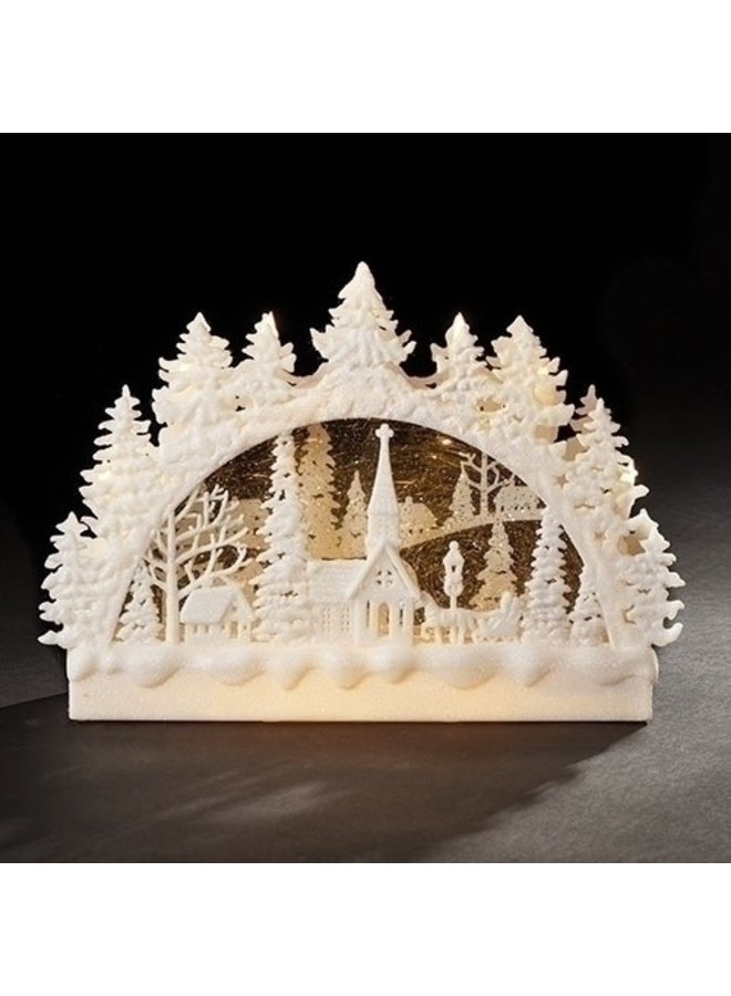 """9""""H LED Christmas Church Scene Swirl Arch; Batteries Included"""