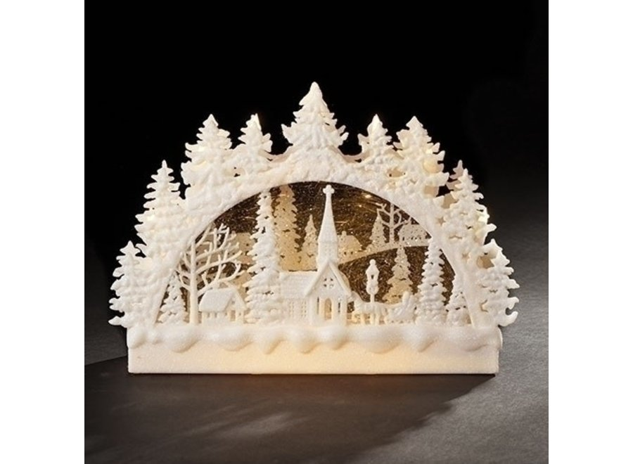 "9""H LED Christmas Church Scene Swirl Arch; Batteries Included"