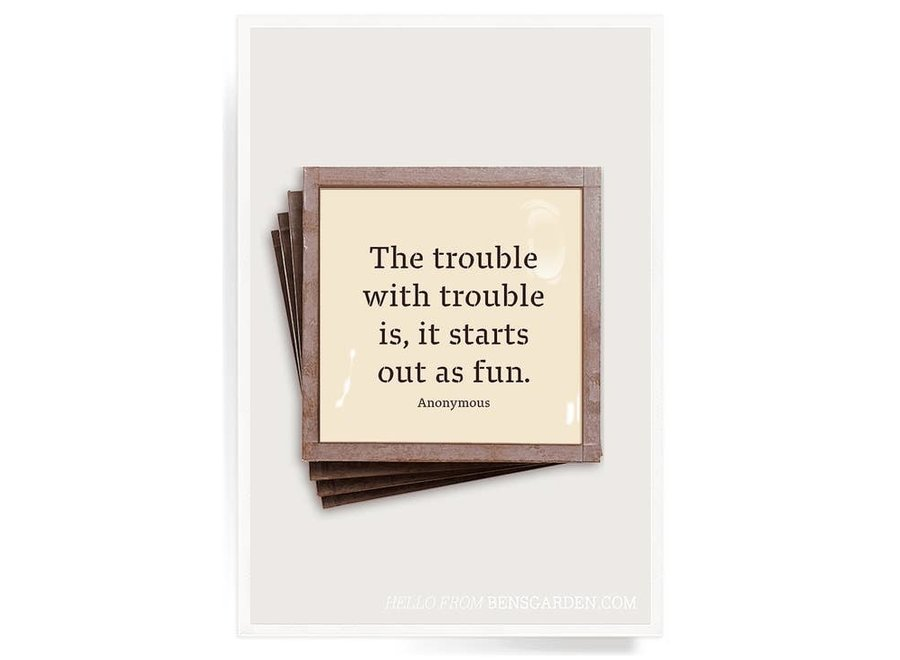 The Trouble With Trouble Copper & Glass Coasters