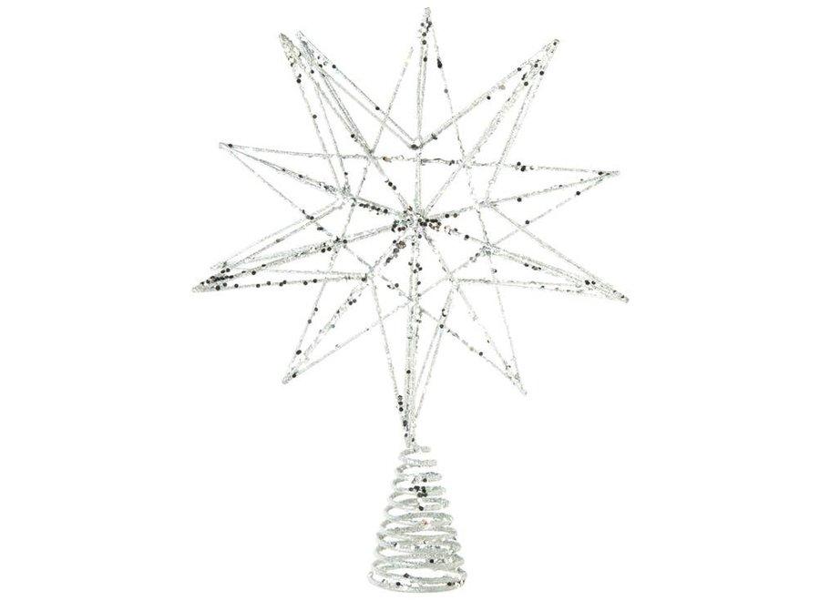 "Silver glittered metal Tree Topper, 3D star, 12"""