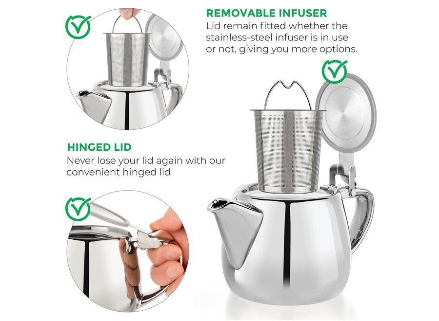 Pluto Silver Porcelain Teapot Infuser 18.2 oz