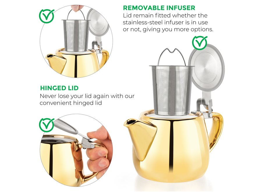 Pluto Gold Porcelain Teapot Infuser 18.2 oz