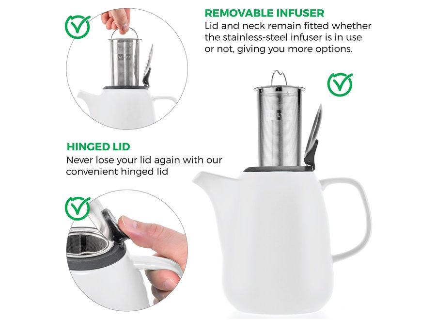 Daze White Large Ceramic Teapot With Infuser 47 oz