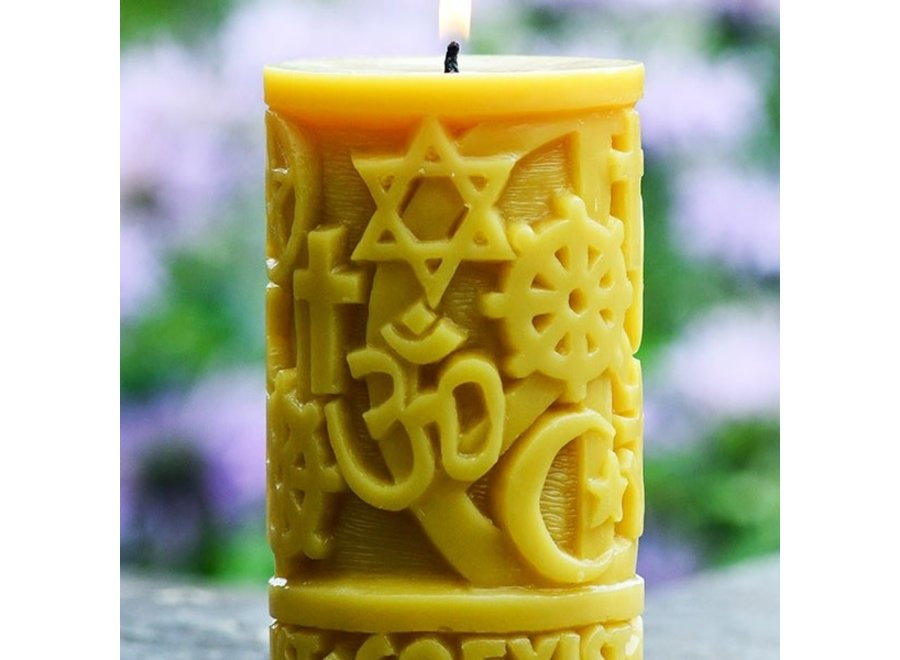 Beeswax Coexist in Peace Pillar Candle