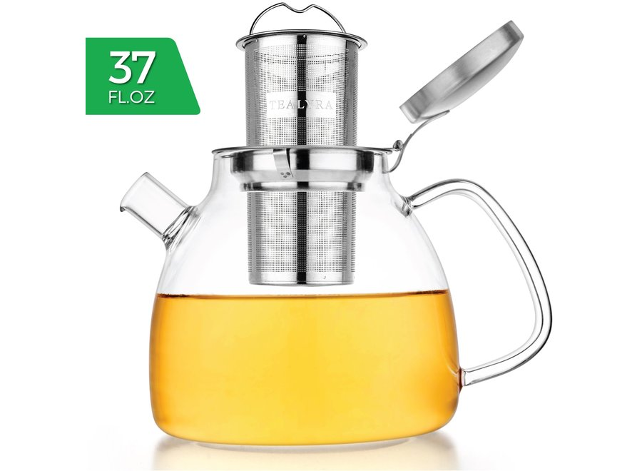 Lyra Glass Teapot Kettle 37 oz Stove Top Safe