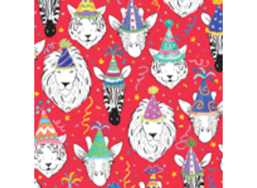 """Safari Birthday Red Continuous Roll Gift Wrapping Paper - 30"""" x 5' Roll"""