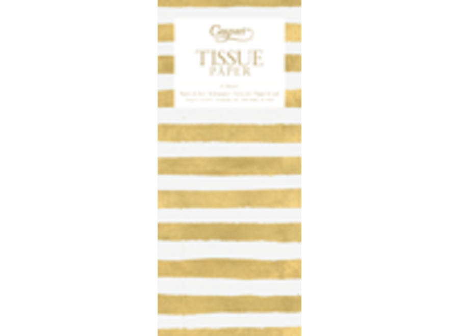Painted Stripe Tissue Paper in Gold & White - 4 Sheets Included