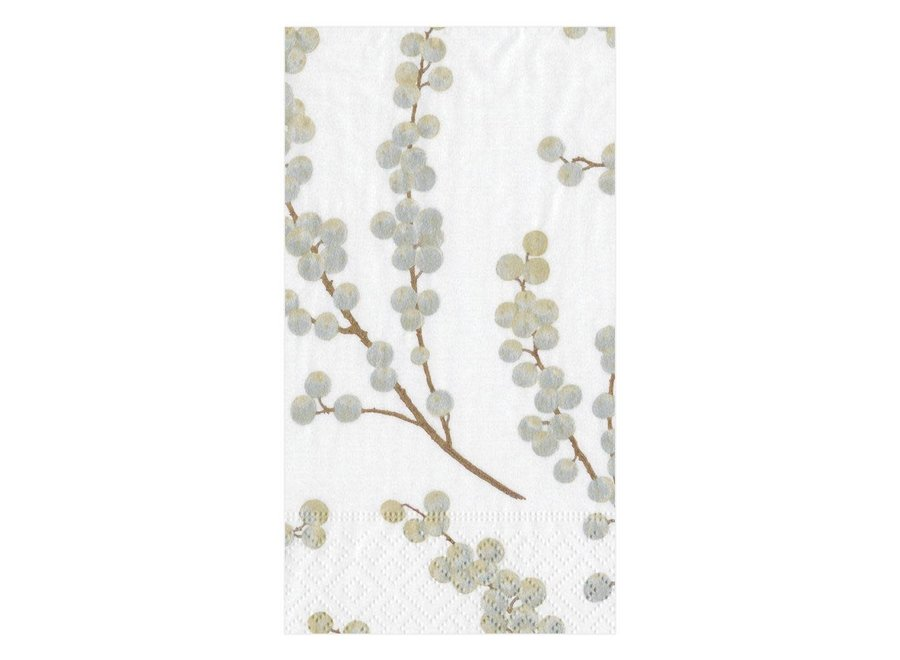 Berry Branches White/Silver Paper Guest Towel Napkins - 15 Per Package