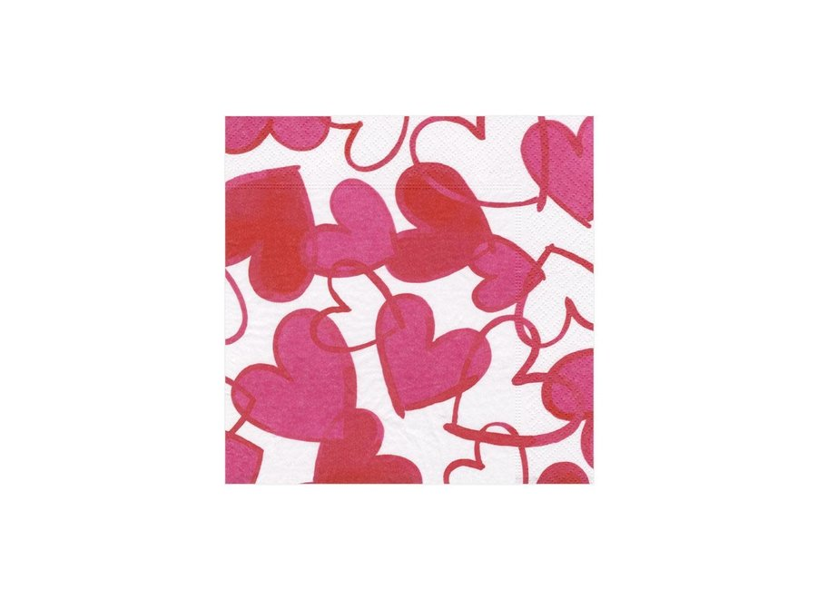 Painted Hearts Paper Cocktail Napkins - 20 Per Package