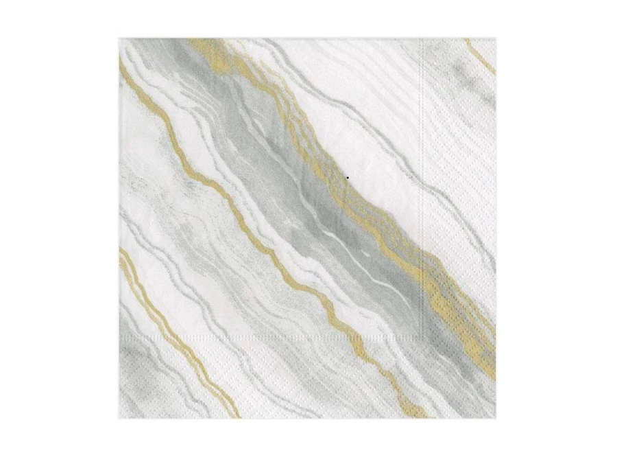 Marble Paper Cocktail Napkins in Grey - 20 Per Package