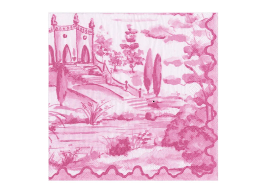 Tuscan Toile Paper Cocktail Napkins in Berry - 20 Per Package