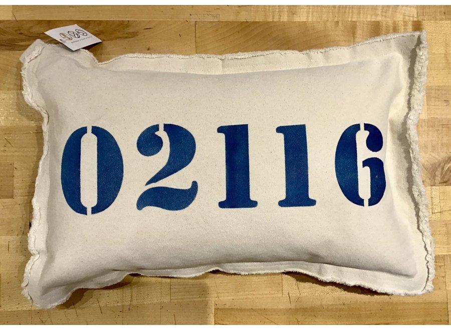 """Zip Code Lumbar Pillow 02116 Natural 12"""" x 18"""" in Nautical Blue"""