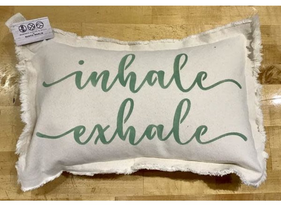 "Lumbar Pillow Inhale - Exhale (Script & Block Font) Natural 12"" x 18"" in Sea Foam"