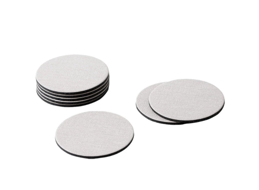 Classic Canvas Felt-Backed Coasters in Linen - 8 Per Box