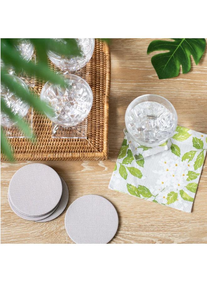 Classic Canvas Felt-Backed Coasters in Linen - 8 Per Box
