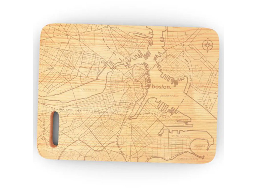 "Boston MA 6""x 8"" Maple Bar Prep & Cutting Board"