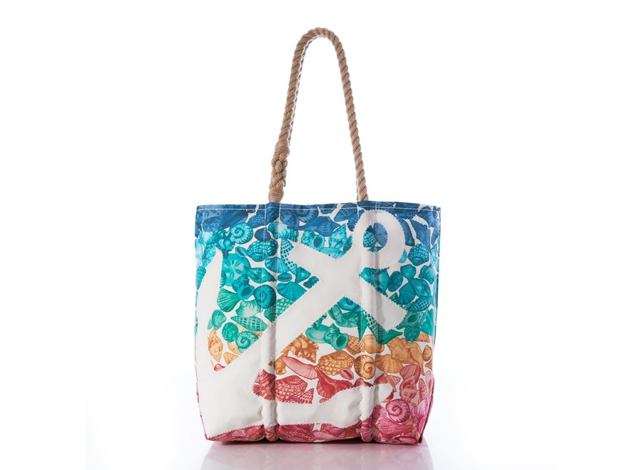 White Anchor on Multicolor Seashells Medium Tote