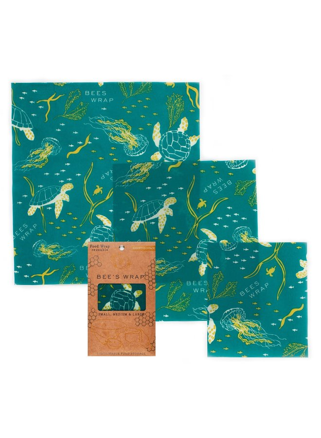 Assorted Sizes in Ocean Print - Pack of 3