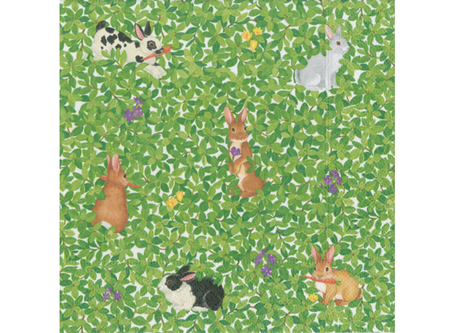 Bunnies and Boxwood Paper Cocktail Napkins - 20 Per Package