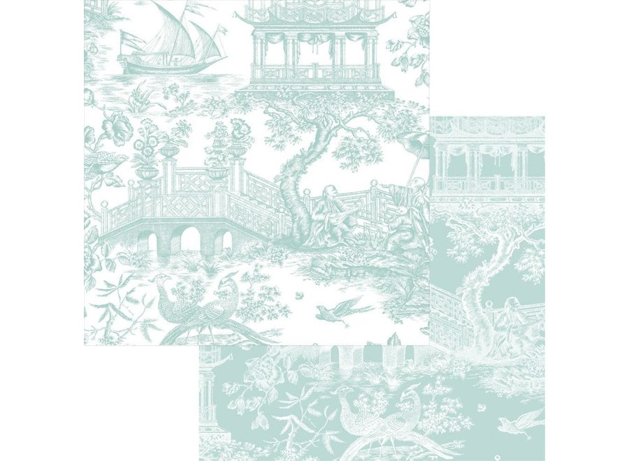 """Chinoiserie Toile Reversible Gift Wrapping Paper in Robin's Egg - 30"""" x 5' Roll"""