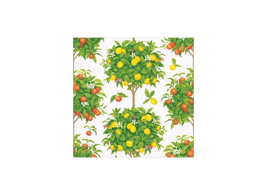 Citrus Topiaries Paper Cocktail Napkins in White - 20 Per Package