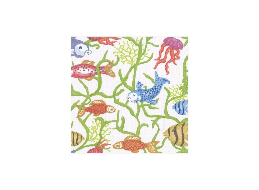 Tropical Reef Paper Cocktail Napkins in White - 20 Per Package