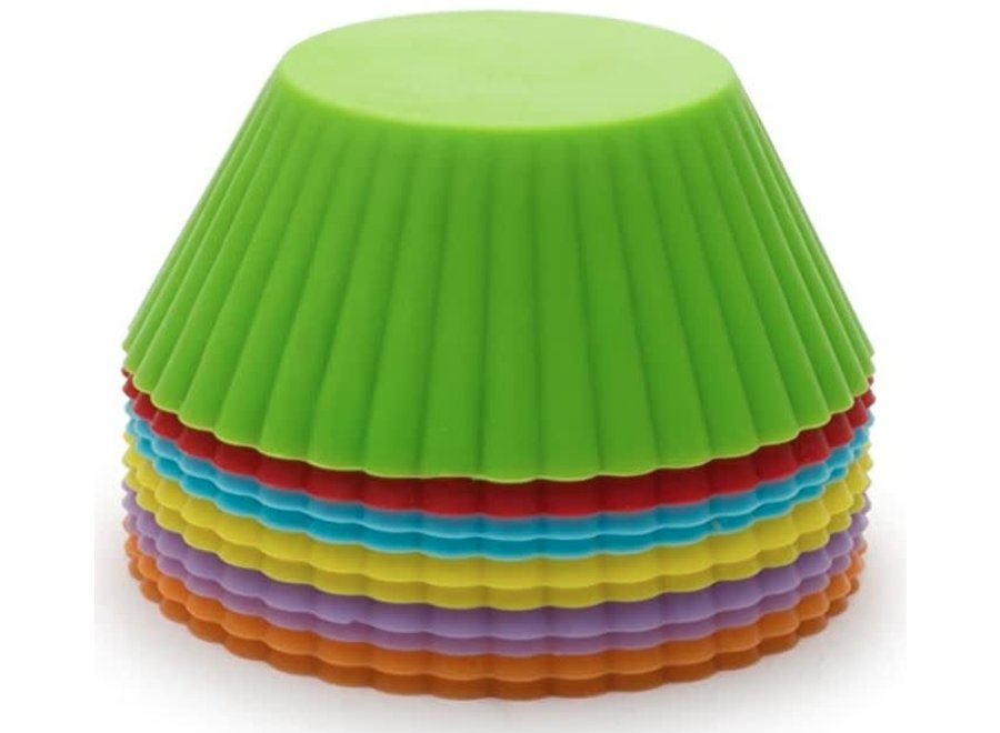 Silicone Reusable Bake Cups, 3 x 3 x 2.5 inches, Multicolored, 12 Count