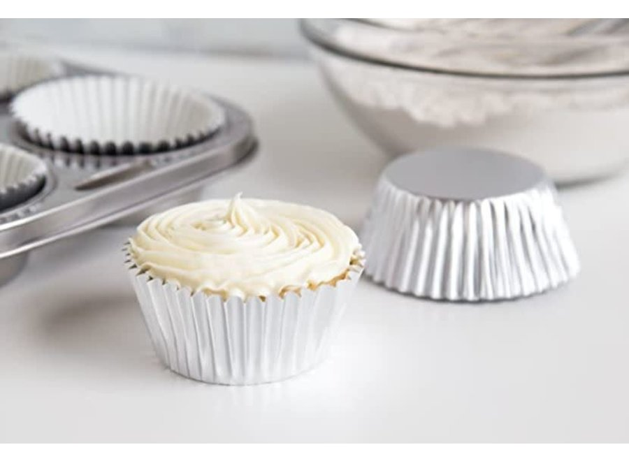 Silver Foil Disposable Bake Cups, 1.75 x 1.75 x 1.5 inches, 32 Count