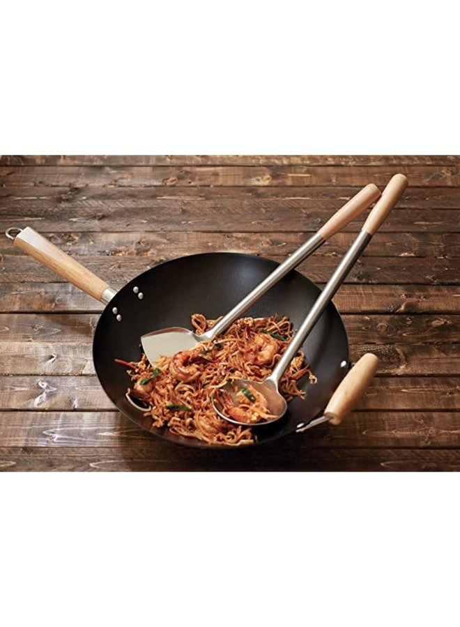 Spatula & Ladle Wok Tool Set, 16.5-17.5 inches, Stainless Steel