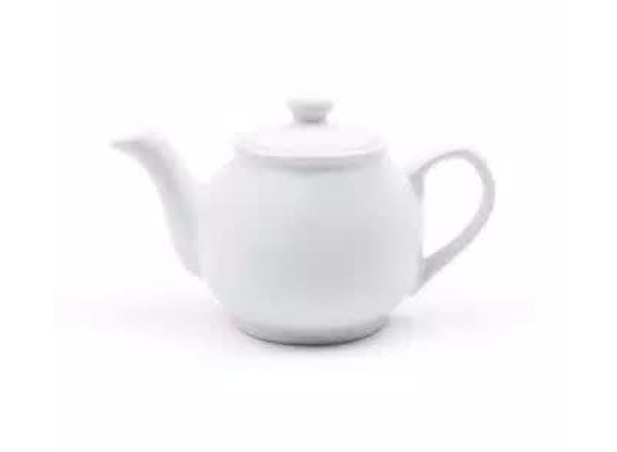 6-Cup White Earthenware Teapot