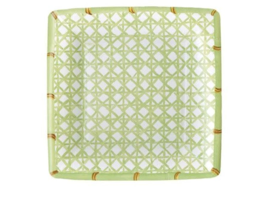 Holly Trellis Square Paper Salad & Dessert Plates - 8 Per Package
