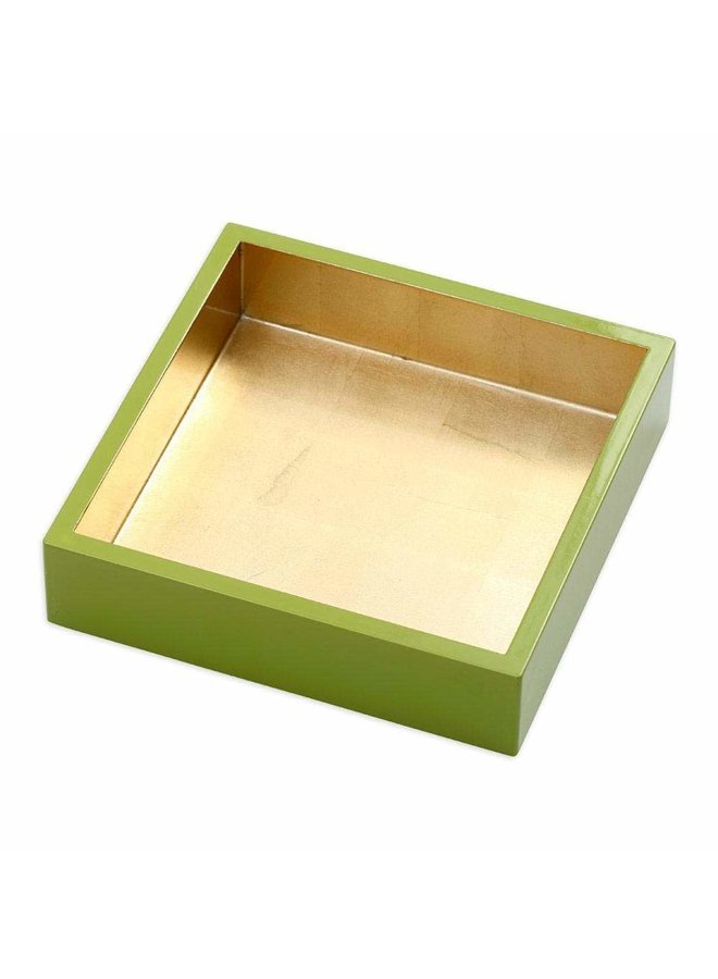Lacquer Luncheon Napkin Holder in Sage & Gold - 1 Each