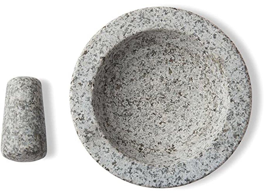 "Molcajate Mortar & Pestle 8"" Black Granite"