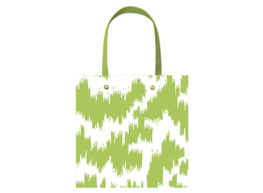 Modern Moiré Small Square Gift Bag in Green - 1 Each