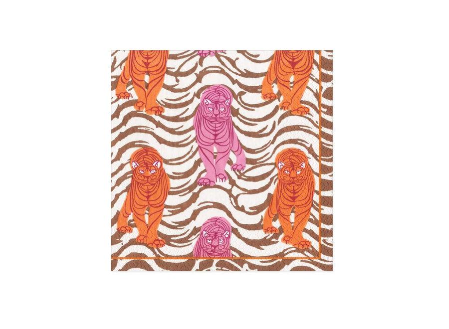 Tiger Stripe Paper Cocktail Napkins in Orange & Pink - 20 Per Package