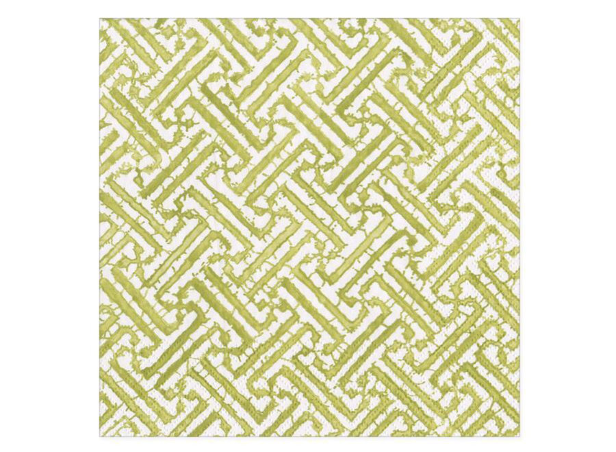 Fretwork Moss Green Paper Cocktail Napkins - 20 Per Package