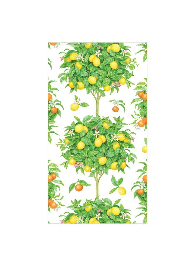 Citrus Topiaries Paper Guest Towel Napkins in White - 15 Per Package