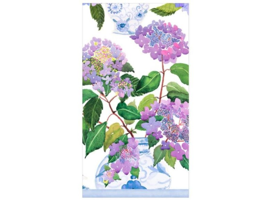 Hydrangeas and. Porcelain Paper Guest Towel Napkins - 15 Per Package