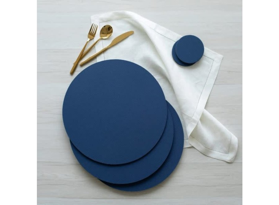 Classic Canvas Round Felt-Backed Placemat in Navy - 1 Each