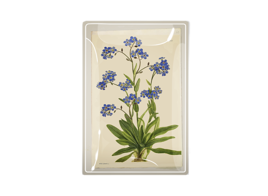 """Forget Me Nots Decoupage Glass Tray  3""""x 5"""""""